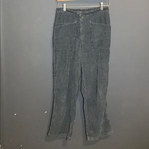 Light blye corduroy wide leg pants(MISSING BUTTON)